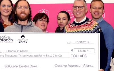 Creative Cares: Hands on Atlanta is Creative Approach's Third Quarter recipient.